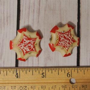 Vintage Jewelry - SOLD red white rhinestone star earrings vintage
